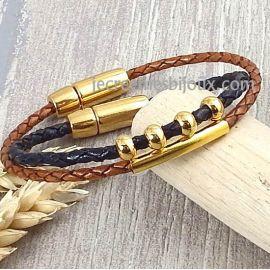 2 kits bracelets cuir tresse marron et noir perles et fermoir or