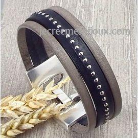 Kit tutoriel bracelet cuir noir clous et gris fermoir argent