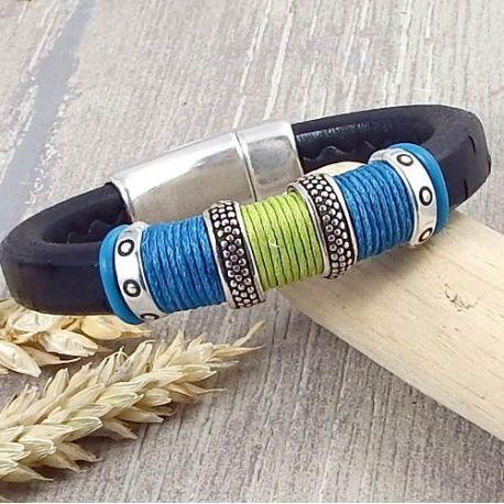Kit bracelet cuir régaliz noir vert bleu et argent boho style