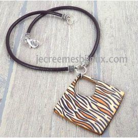 Kit collier cuir marron pendentif tigre marron et beige