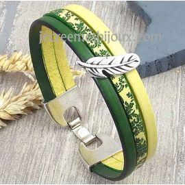 Kit bracelet cuir printemps soleil vert jaune argent