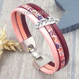 Kit bracelet cuir yeye rose bordeaux avec plume argent