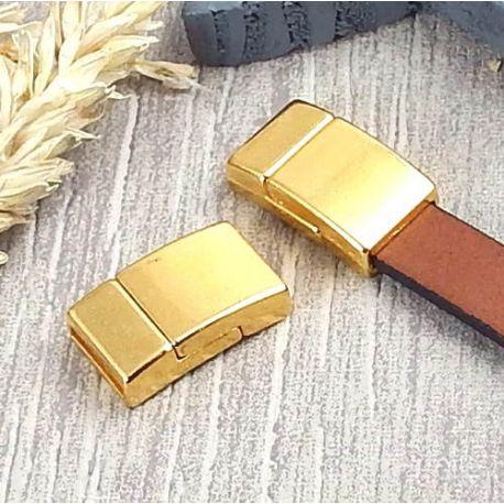 Fermoir magnetique plat flashe or pour cuir 10mm