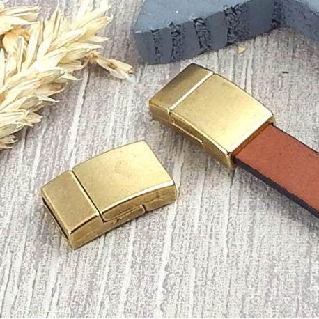 Fermoir magnetique bronze securise pour cuir plat 10mm