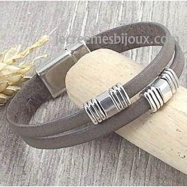 Kit bracelet cuir gris vintage deux bandes argent