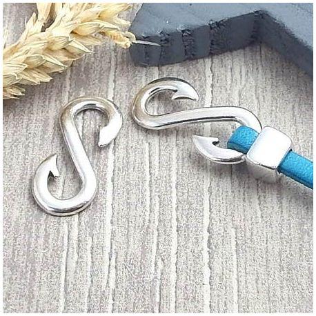 Fermoir crochet esse argent cuir 5mm