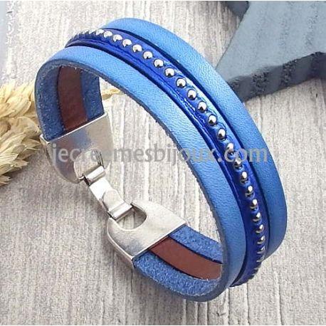 Kit bracelet cuir fondu de bleus billes argent