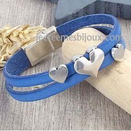 Kit bracelet cuir Saint Valentin bleu et argent coeur