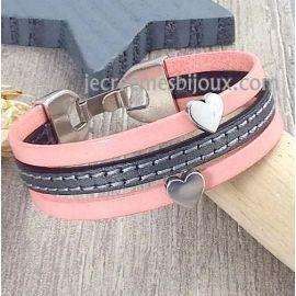 Kit bracelet cuir saumon et argent coeurs SAINT VALENTIN argent