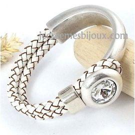 Kit tutoriel bracelet cuir tressé blanc cristal swarovski et jonc argent