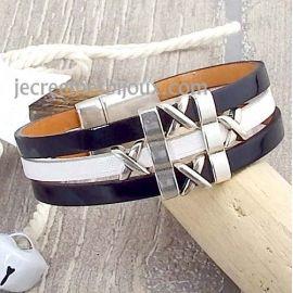 Kit bracelet cuir vernis noir et blanc perles et fermoir argent Rock