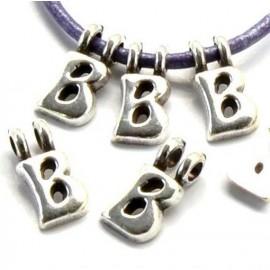 Lettre B pendentif alphabet plaque argent