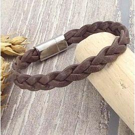 Kit bracelet cuir tresse marron fin