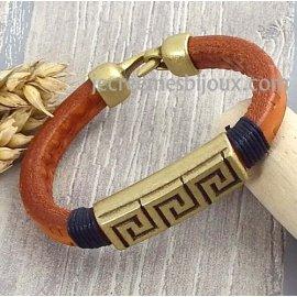 Kit bracelet cuir regaliz homme cognac ethnique bronze