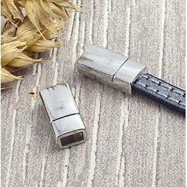 Fermoir magnetique plat plaque eco argente pour cuir 5mm