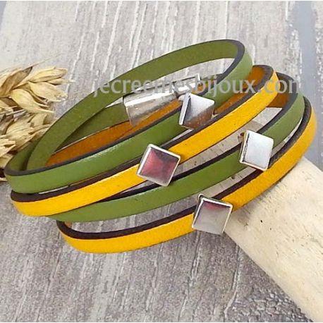 Kit bracelet cuir moutarde et anis losanges argent
