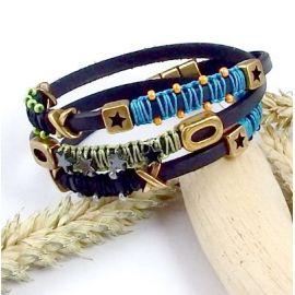Bracelet cuir gris bronze style boho perles et enroulages