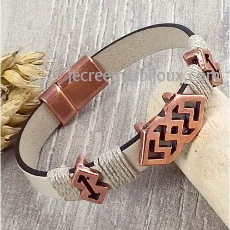 Kit bracelet cuir mastic et cuivre pour hommes
