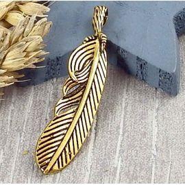1 pendentif boheme plume doré vieilli