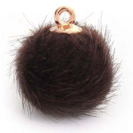 2 mini pompons fourrure synthe brun 18mm avec anneau