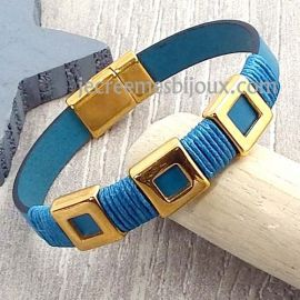 Kit bracelet cuir turquoise seventies et flashe or avec tutoriel
