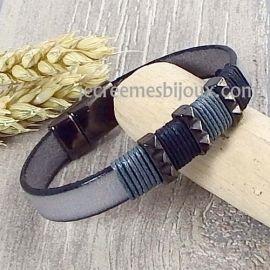 Kit bracelet cuir homme gris enroulage et gun metal