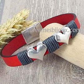 Kit bracelet cuir Saint Valentin rouge gris et argent coeur