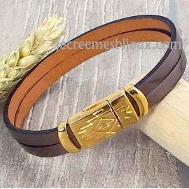 Kit bracelet cuir couleur inox avec passant et fermoir or style azteque