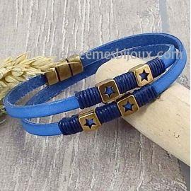 Kit tutoriel bracelet cuir bleu jean passants et fermoir bronze