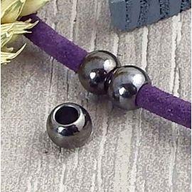 2 perles rondes gun metal pour cuir 6mm