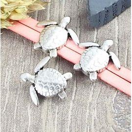 Passant tortue plaque argent pour cuir 10mm