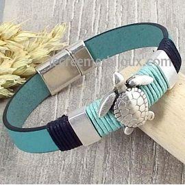 Kit bracelet cuir vert ocean tortue et fermoir argent