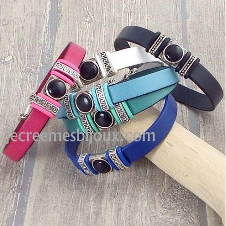 Kit bracelet cuir couleur au choix cabochon noir