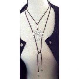 Kit collier suedine marron arbre de vie perles argent