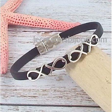 Kit bracelet cuir noir poissons argent