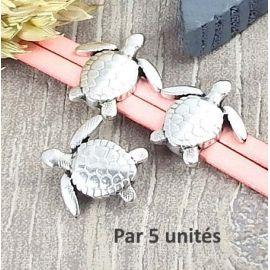 5 Passants tortue plaque argent pour cuir 10mm