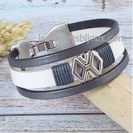 Bracelet cuir blanc et gris argent style grec passants argent
