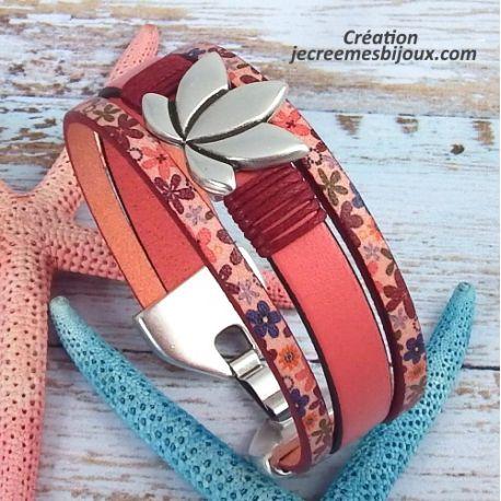 Kit tutoriel bracelet cuir rose fleurs lotus argent