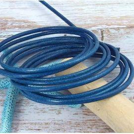 Cordon cuir rond bleu 4mm par 20 cm