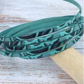 Cuir plat 5mm haute qualite imprime turquoise et noir savane