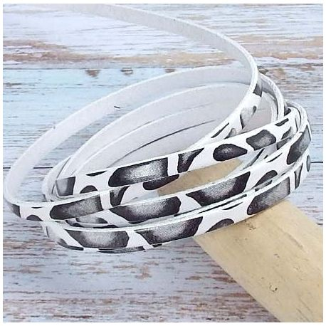 Cuir plat 5mm haute qualite imprime blanc et noir savane