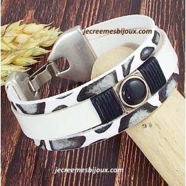Kit tutoriel bracelet cuir blanc et savane noir et argent