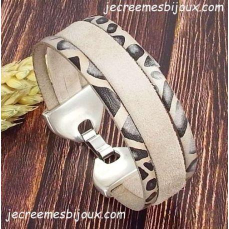cfd809760e426 Kit bracelet cuir daim sable et savane noir avec son tutoriel offert