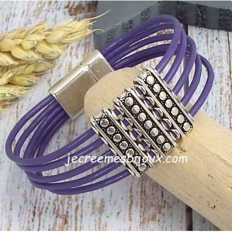 Kit bracelet cuir violet 5 brins ethnique argent avec tutoriel