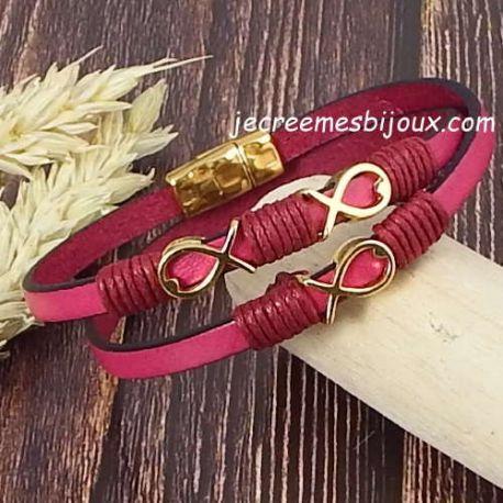 Kit tutoriel bracelet cuir fuchsia poissons or et cordon bordeaux
