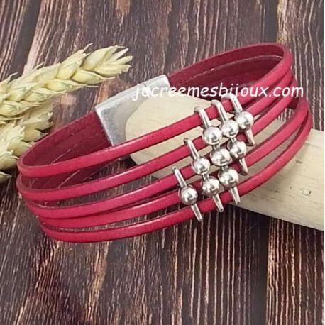 Kit bracelet cuir fuchsia et argent géométrique