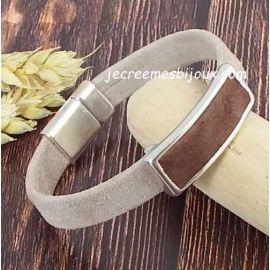 Kit bracelet cuir DAIM sable marron et argent