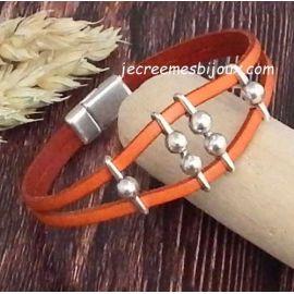 Kit tutoriel bracelet cuir orange passants grains argent et fermoir magnétique