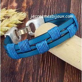 Kit bracelet cuir et coton cire homme turquoise