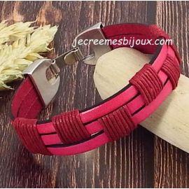 Kit bracelet cuir et coton cire fuchsia fermoir ethnique